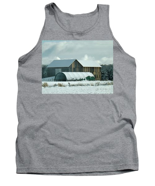 Tank Top featuring the photograph New And Old Barn Planks by Brenda Brown