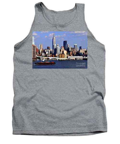 New York City Skyline With Empire State And Red Boat Tank Top