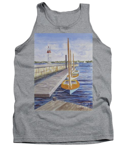 Tank Top featuring the painting Newport Boats In Waiting by Carol Flagg