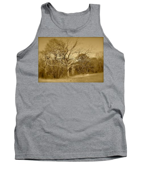 Old Haunted Tree In Sepia Tank Top