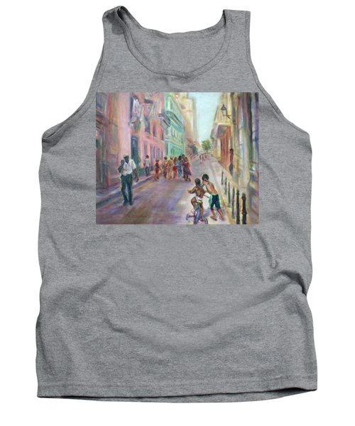 Old Havana Street Life - Sale - Large Scenic Cityscape Painting Tank Top by Quin Sweetman