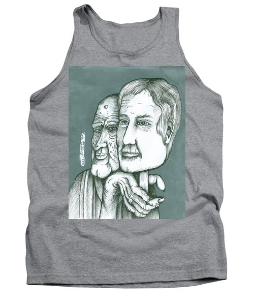 Old Man Behind A Young Mans Face Tank Top
