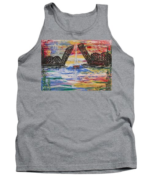 On The Hour. The Sailboat And The Steel Bridge Tank Top