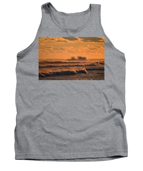 Tank Top featuring the photograph Opal Beach Sunset Colors With Huge Waves by Jeff at JSJ Photography