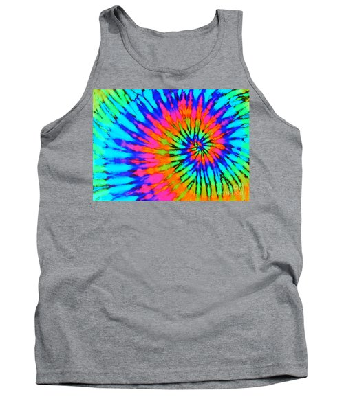 Orange Pink And Blue Tie Dye Spiral Tank Top by Catherine Sherman