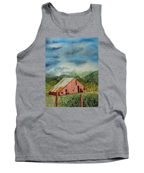 Tank Top featuring the painting Oregon Barn by Katherine Young-Beck