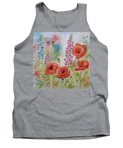 Tank Top featuring the painting Oriental Poppies Meadow by Carla Parris