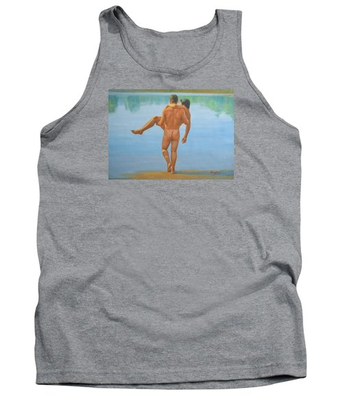 Original Oil Painting Man Body Art -male Nude By The Pool -073 Tank Top