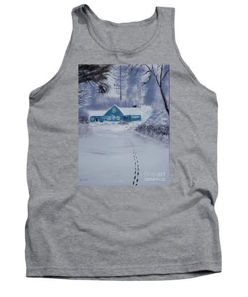 Our Little Cabin In The Snow Tank Top by Ian Donley