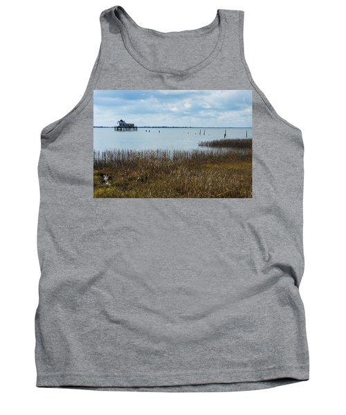 Oyster Shack And Tall Grass Tank Top by Photographic Arts And Design Studio