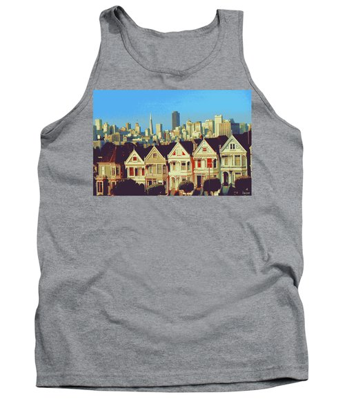 Alamo Square San Francisco - Digital Art Painting Tank Top