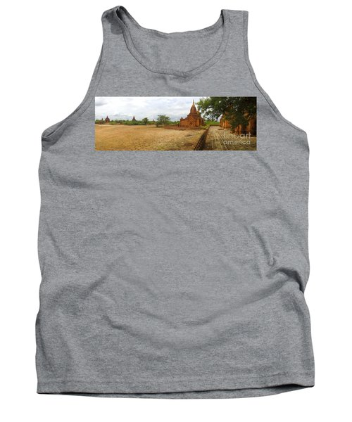 Tank Top featuring the photograph Panoramic View Next To Dhammayazika Pagoda Built In 1196 By King Narapatisithu by Ralph A  Ledergerber-Photography