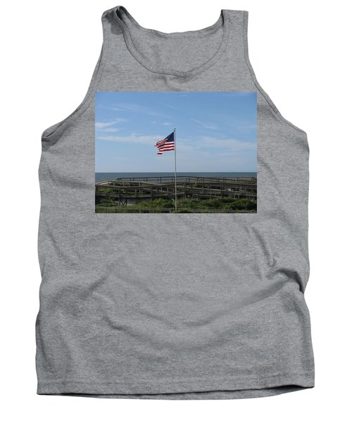 Patriotic Beach View Tank Top