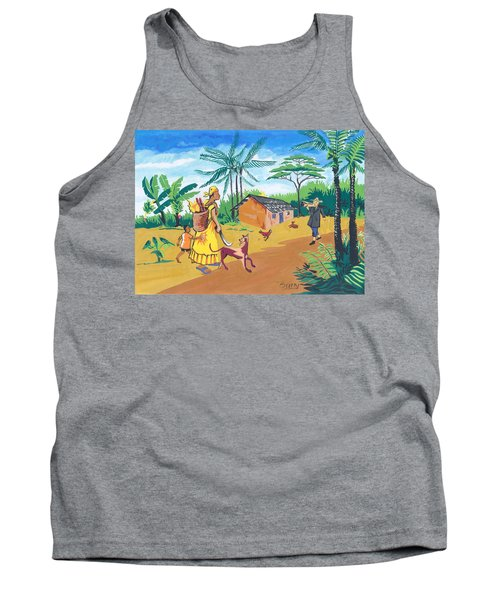 Tank Top featuring the painting Paysage Du Sud Du Cameroon by Emmanuel Baliyanga