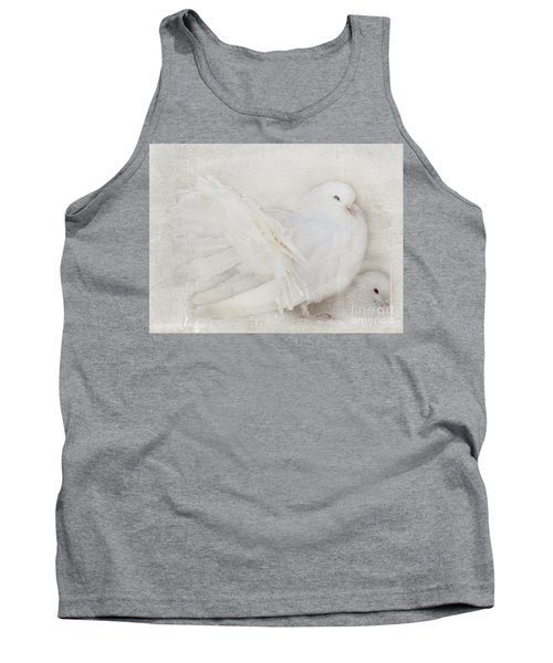 Peaceful Existence White On White Tank Top by Barbara McMahon