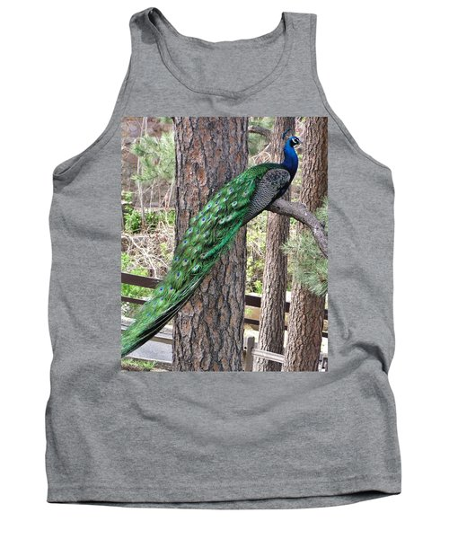 Tank Top featuring the photograph Peacock Watches The World by Diane Alexander