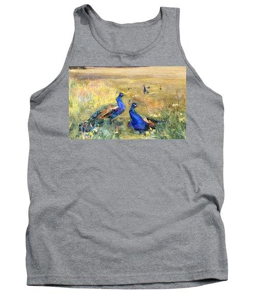 Peacocks In A Field Tank Top