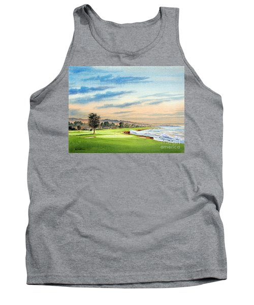 Pebble Beach Golf Course 18th Hole Tank Top by Bill Holkham