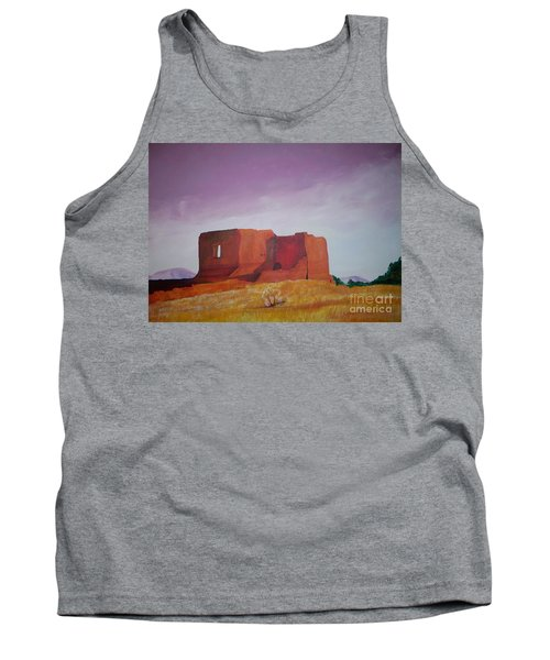 Tank Top featuring the painting Pecos Mission Landscape by Eric  Schiabor