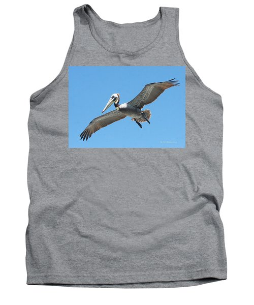 Tank Top featuring the photograph Pelican Landing On  Pier by Tom Janca