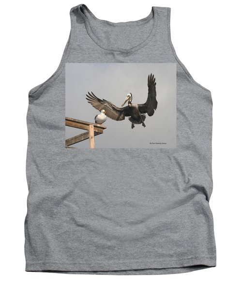 Tank Top featuring the photograph Pelican Wins Sea Gull Looses by Tom Janca