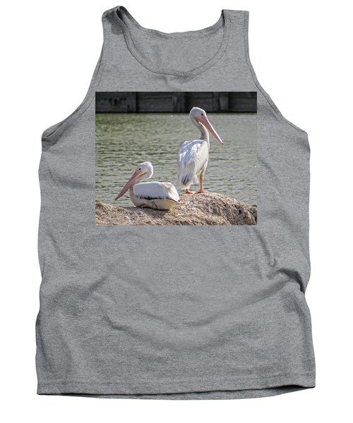 Tank Top featuring the photograph Pelicans By The Pair by Ella Kaye Dickey
