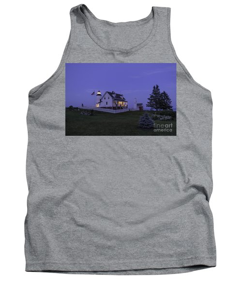 Pemaquid Point Light - Blue Hour Tank Top by Patrick M Fennell