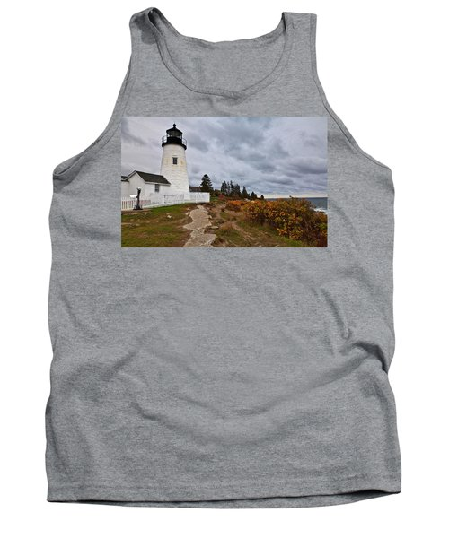 Stormy Autumn Day At Pemaquid Point Lighthouse Tank Top