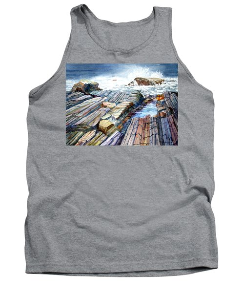 Tank Top featuring the painting Pemaquid Rocks by Roger Rockefeller