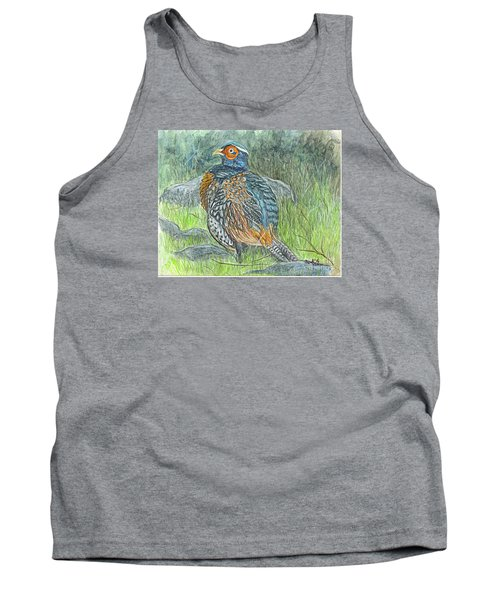 Tank Top featuring the drawing Pheasant Common Male by Carol Wisniewski