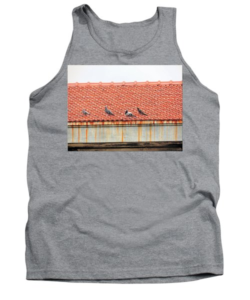 Tank Top featuring the photograph Pigeons On Roof by Aaron Martens