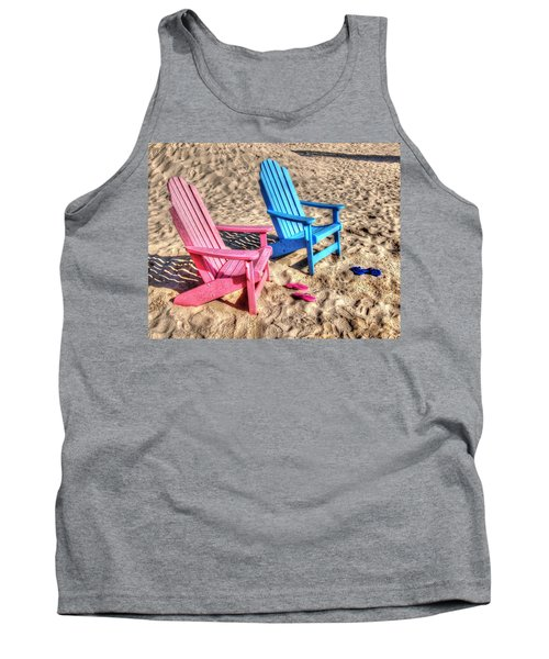 Pink And Blue Beach Chairs With Matching Flip Flops Tank Top