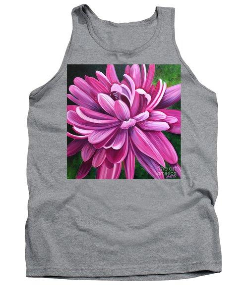 Pink Flower Fluff Tank Top by Debbie Hart