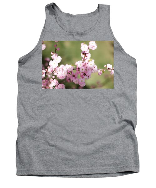 Pink Plum Branch On Green 2 Tank Top
