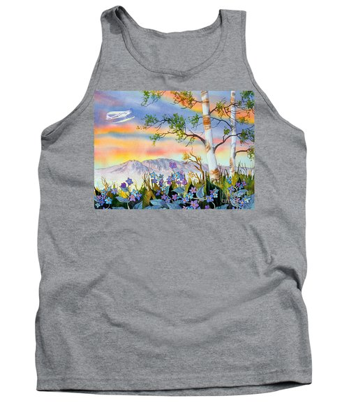 Tank Top featuring the painting Piper Cub Over Sleeping Lady by Teresa Ascone