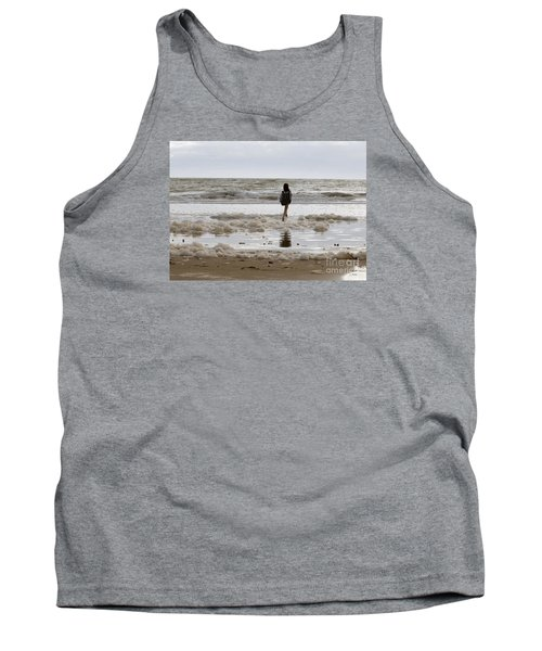 Tank Top featuring the photograph Girl Playing In Sea Foam by Haleh Mahbod