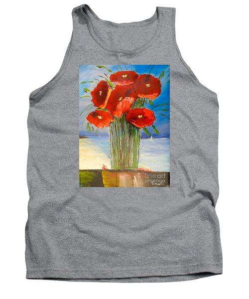 Tank Top featuring the painting Poppies On The Window Ledge by Pamela  Meredith