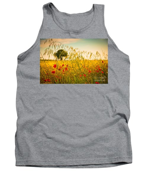 Poppies With Tree In The Distance Tank Top