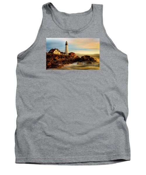 Portland Head Lighthouse At Dawn Tank Top by Jerry Fornarotto