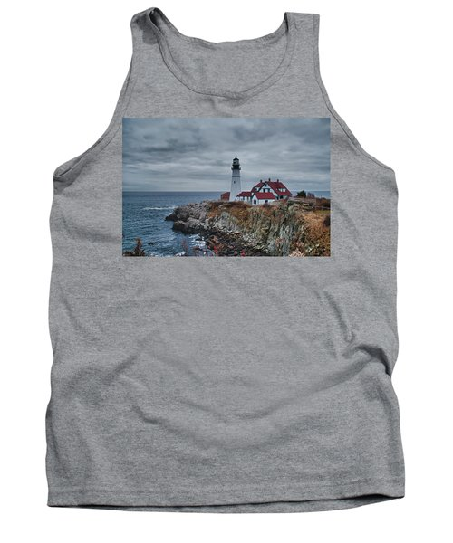 Tank Top featuring the photograph Portland Headlight 14440 by Guy Whiteley