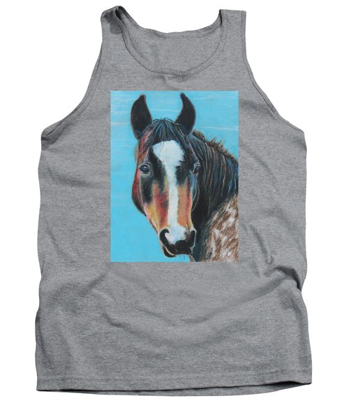 Tank Top featuring the painting Portrait Of A Wild Horse by Jeanne Fischer