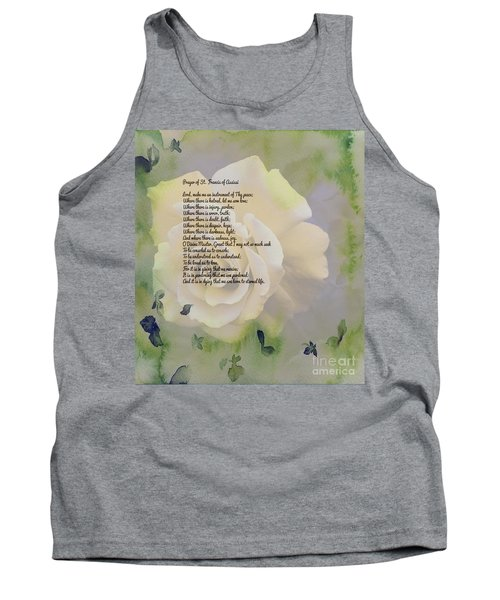 Prayer Of St. Francis And Yellow Rose Tank Top