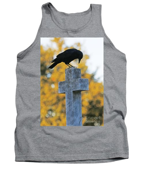 Praying Crow On Cross Tank Top by Luana K Perez