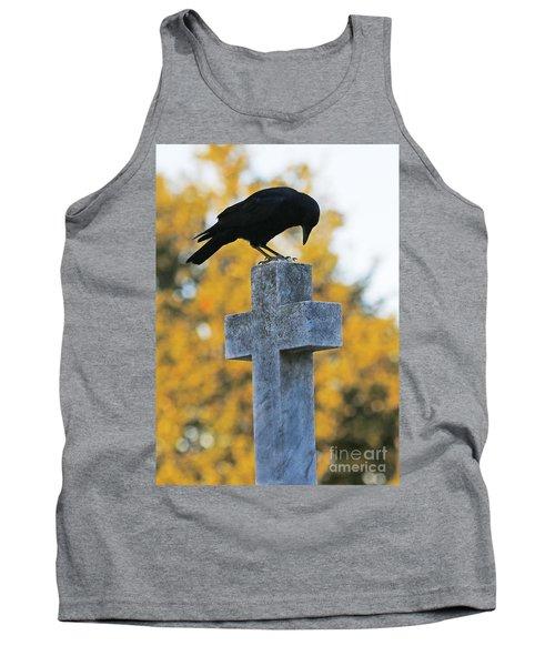 Praying Crow On Cross Tank Top