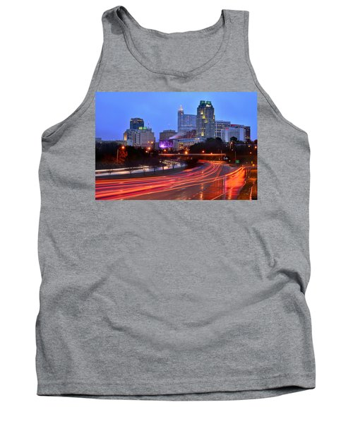 Tank Top featuring the photograph Raleigh Skyline At Dusk Evening Color Evening Panorama North Carolina Nc by Jon Holiday