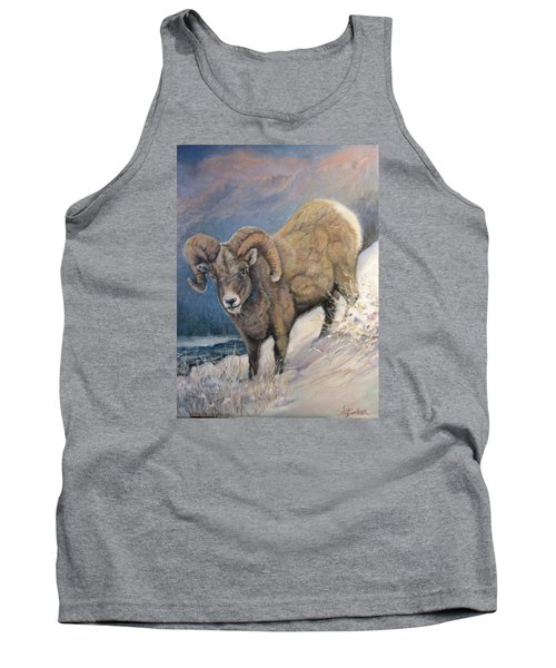 Tank Top featuring the painting Ram In The Snow by Donna Tucker
