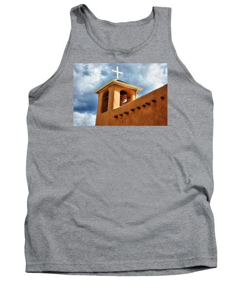 Tank Top featuring the photograph Rancho De Taos Bell Tower And Cross by Lanita Williams