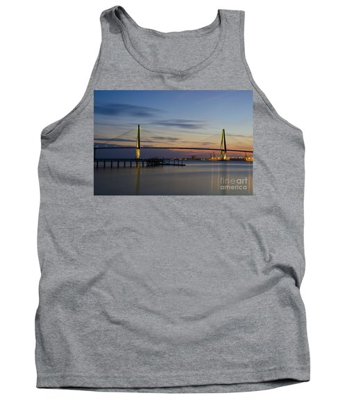 Tank Top featuring the photograph Ravenel Bridge Nightfall by Dale Powell