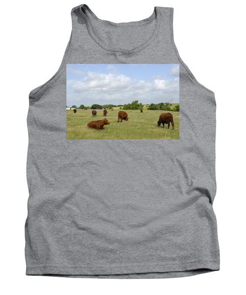 Tank Top featuring the photograph Red Angus Cattle by Charles Beeler