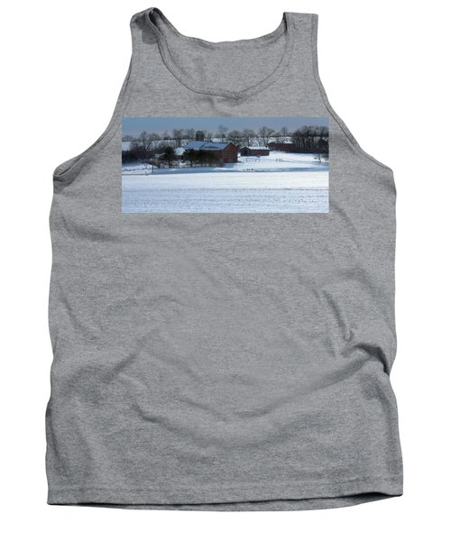 Red Barn In Snow Cover Tank Top